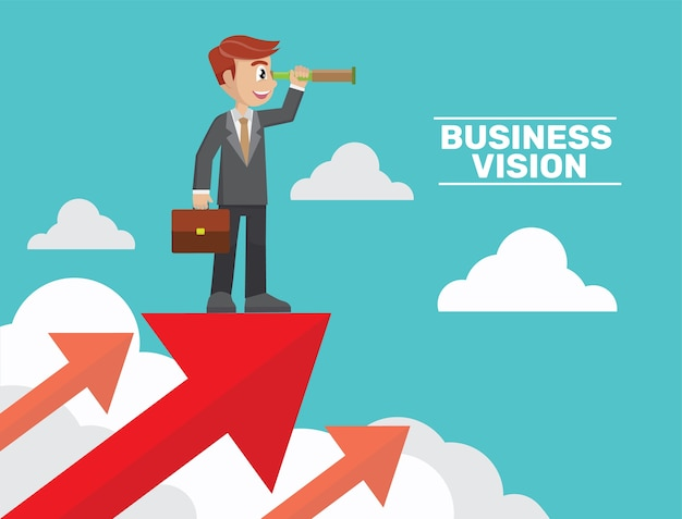 Conceitos de visão de negócios.