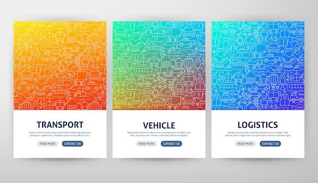 Conceitos do folheto de transporte. ilustração em vetor de modelo de contorno.