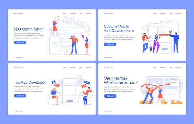 Conceitos inovadores da web. soluções de site, seo e aplicativos móveis com modelo de página de destino de ilustração de pessoas modernas. desenvolvimento e otimização de programas. layout da página inicial da interface do usuário, ux