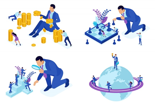 Conceitos isométricos de crescimento na carreira, promoção, ganhando dinheiro.