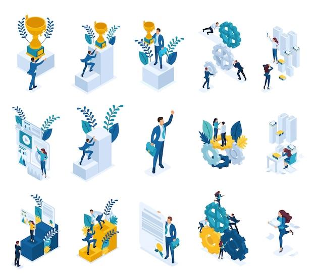 Conceitos isométricos de realização do objetivo, vencedor, vitória, trabalhador de escritório.