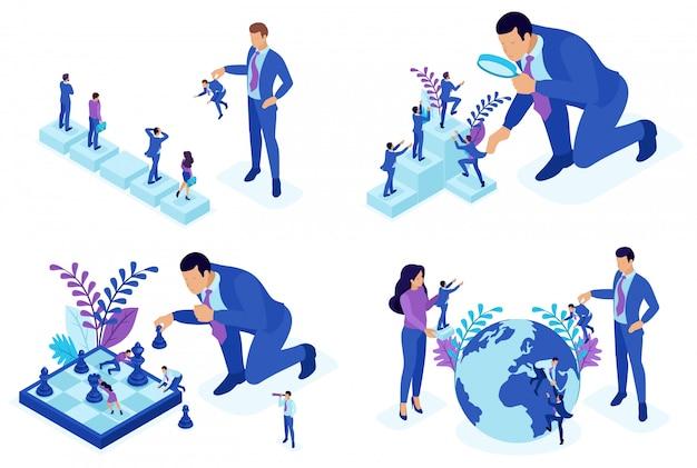 Conceitos isométricos de seleção de funcionários, desenvolvimento de carreira, promoção.
