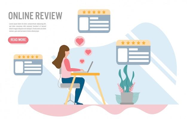 Conceitos on-line de revisão do cliente com caráter.