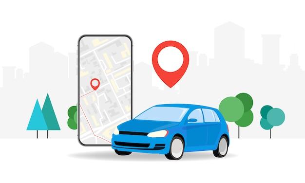 Conceitos online, pedido de um carro de táxi usando o serviço de aplicativo móvel. tela do smartphone no fundo da cidade, com a localização da rota e pontos no mapa. ilustração