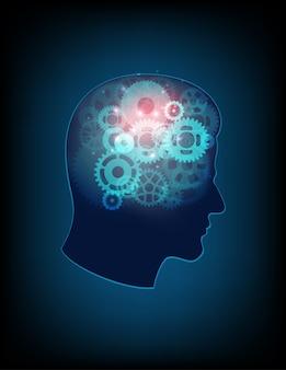 Concepção abstrata de cabeça humana e simbólica