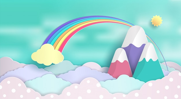 Concepção de conceitos e arco-íris flutuando no céu. e um lindo nuvens pastel.