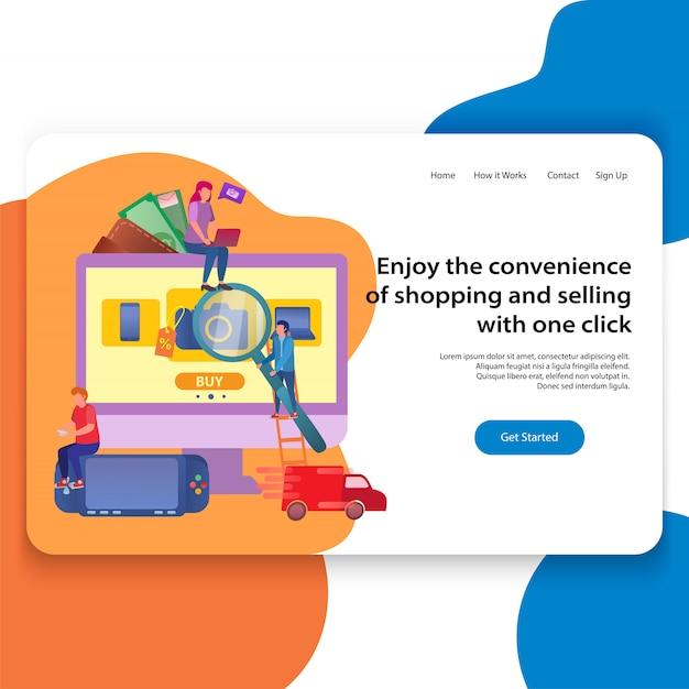 Concept of landing page loja online ilustração