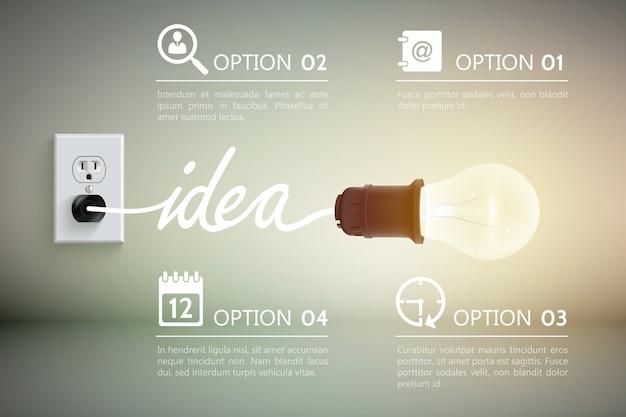Conceptual com lâmpada incandescente conectada a uma tomada com ideia de palavra e ilustração de sinais decorativos