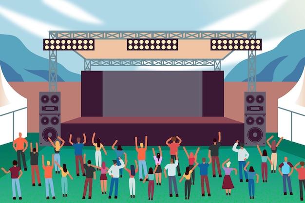 Concerto ao ar livre com multidão