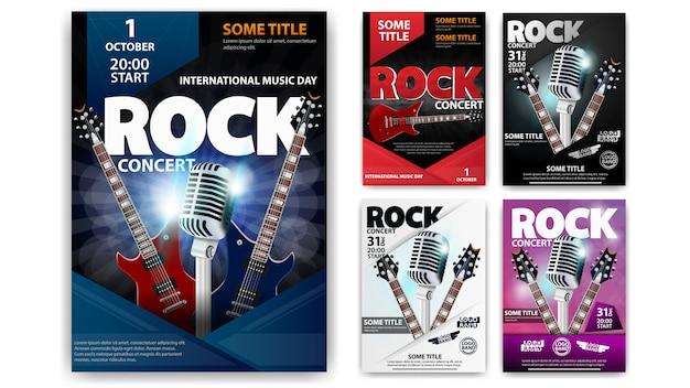 Concerto de rock, conjunto de modelos de cartaz para a sua criatividade