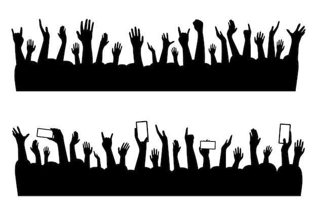 Concerto musical de mãos de pessoas se aglomerando em silhueta