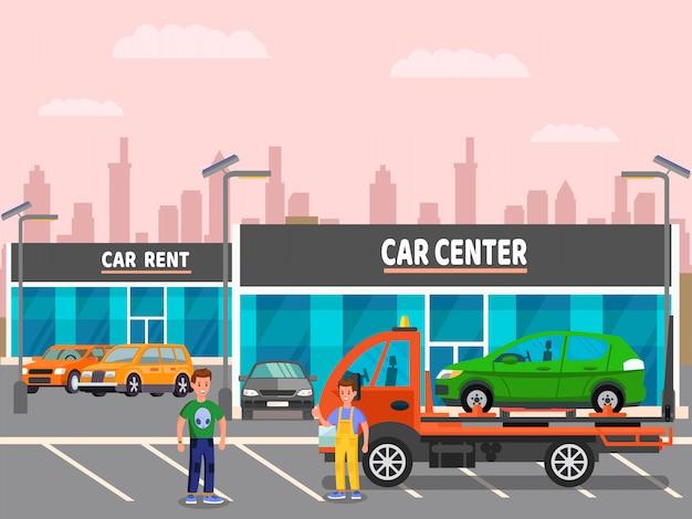 Concessionária de carros, ilustração em vetor centro de aluguel