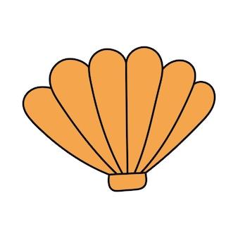 Concha do estilo doodle. vieira, ostra. ilustração simples isolada no fundo branco. ícone de verão