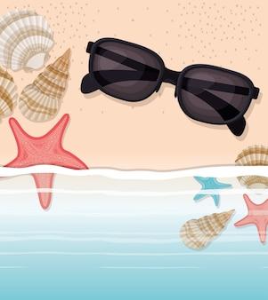 Concha do mar e estrela no design de areia
