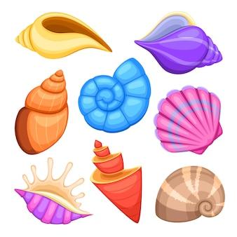 Conchas de marisco do oceano. coleção de vetores de conchas do mar dos desenhos animados. ilustração, de, mar, cockleshells
