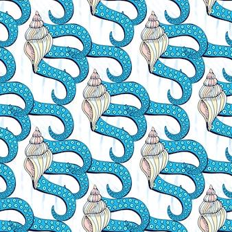 Conchas de padrão sem costura com tentáculos de polvo. fundo desenhado à mão do vetor marinho. impressão artística