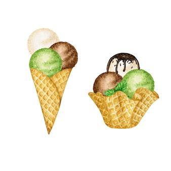 Conchas de sorvete decoradas com ilustração de chocolate