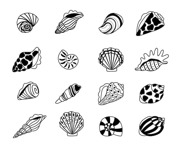 Conchas do mar esboçar ícones. esboços de conchas marinhas de moluscos e ostras, elementos kraken do conceito de tesouro do oceano, ilustração vetorial concha marinha isolada no fundo branco