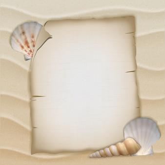 Conchas e folha de papel em branco