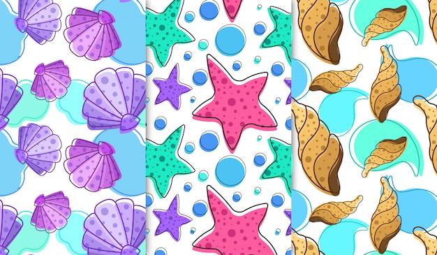 Conchas e padrão de estrelas do mar