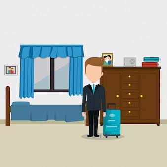 Concierge do hotel, trabalhando o personagem de avatar