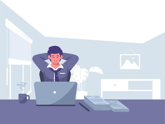 Conclua a ilustração do conceito de trabalho. freelance, ilustração de conceito de renda passiva