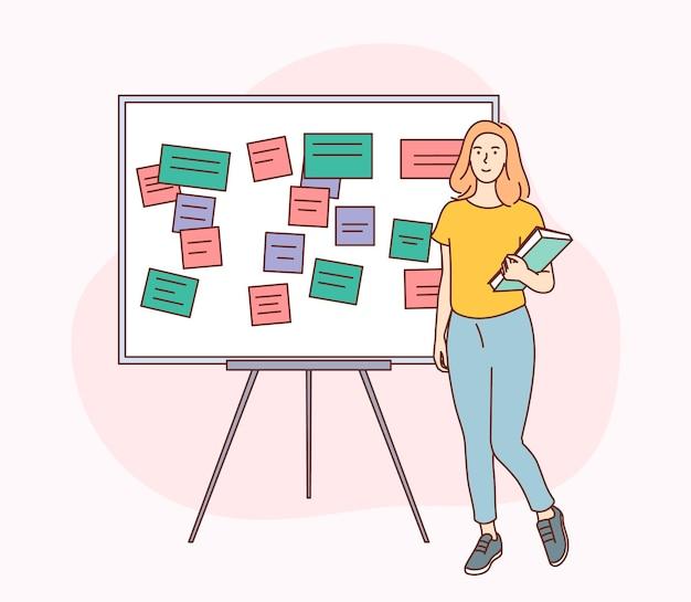 Conclusão de tarefas bem-sucedida, planejamento de trabalho eficaz, gerenciamento de tempo. mulher feliz ficar ao lado da área de transferência com nota, organizar a agenda.