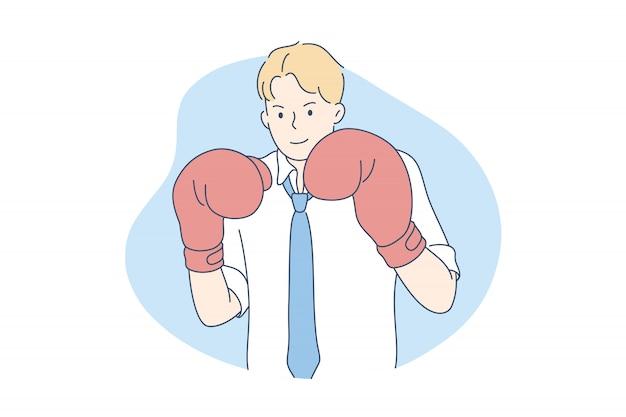 Concorrência, rival, desafio, conceito do negócio