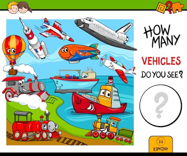 Concurso de jogo educacional de veículos