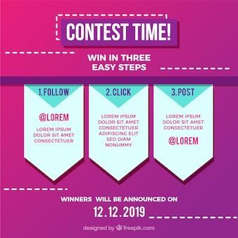 Concurso de mídia social ou conceito de oferta