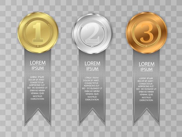 Concurso de premiação do vencedor, conjunto de medalhas de prêmio