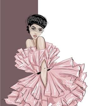 Concurso mulher na boina com voile um vestido inchado