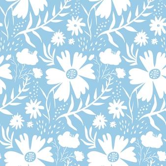 Concurso padrão floral branco sobre fundo azul