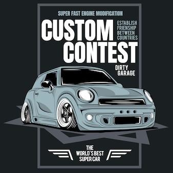 Concurso personalizado, cartaz do carro de corrida super rápido