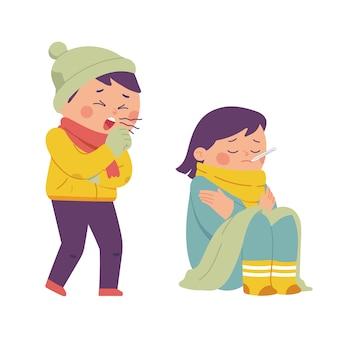 Condição de um corpo doente devido a tosse e gripe em um inverno muito frio