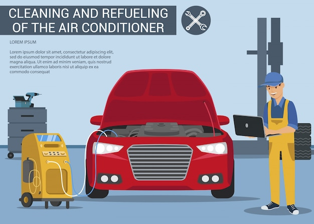 Condicionador de ar dos diagnósticos do computador no carro vermelho.