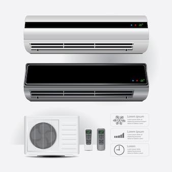 Condicionador de ar realista e controle remoto com ilustração vetorial de símbolos de ar frio