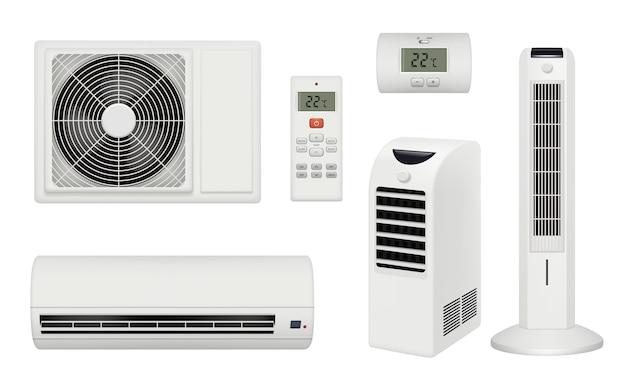 Condicionador. quarto confortável e relaxante com purificador de ar condicionado e condicionador realista. conjunto condicionador de ilustração