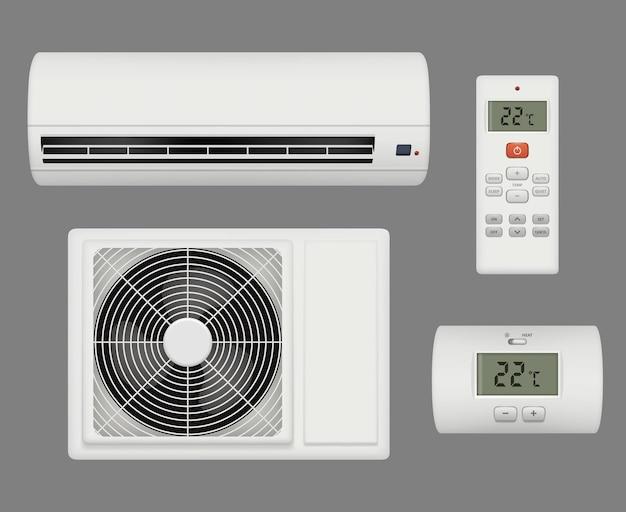 Condicionador realista. interior confortável do purificador de ventilação de ar. equipamento de ar condicionado, ilustração de ar condicionado doméstico