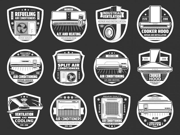Condicionamento, ícones de ventilação, ar condicionado
