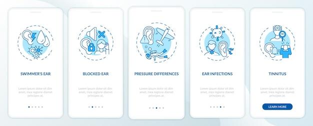 Condições auditivas na tela da página do aplicativo móvel com conceitos