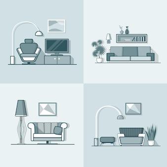 Condomínio acomodação sala de estar aconchegante minimalismo moderno interior mínimo conjunto interno. estilo simples do contorno do traço linear