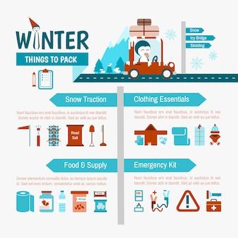 Condução de lista de embalagem de inverno infográficos para viagem de segurança