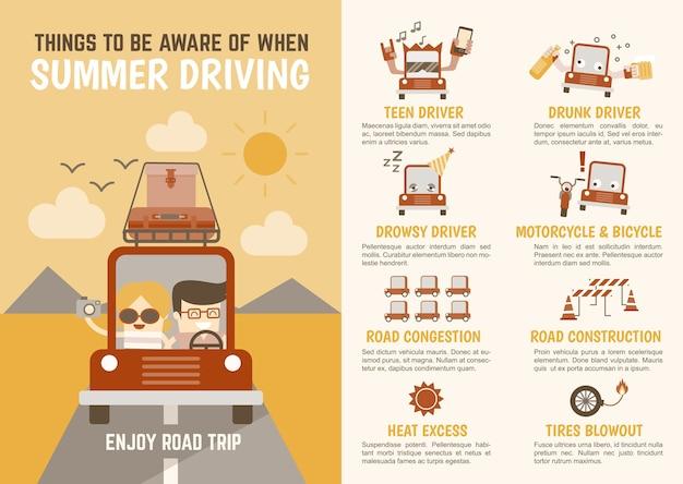 Condução de verão infográficos