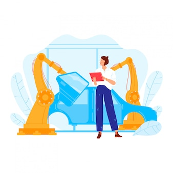 Conduza o caráter da mulher da indústria da fábrica automóvel do engenheiro, veículo profissional do projeto da ocupação fêmea do mecânico isolado no branco, ilustração dos desenhos animados.