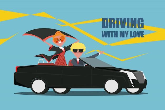 Conduzindo com meu amor casais dirigem um carro descapotável design de caráter estilo plano