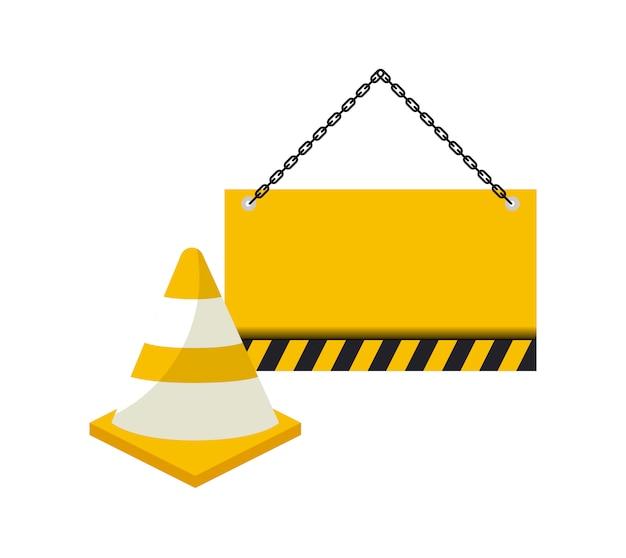 Cone com sinalização pendurado ícone isolado