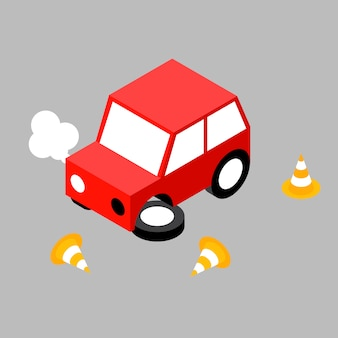 Cone de acidente de carro