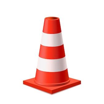 Cone de estrada vermelho e branco brilhante em branco