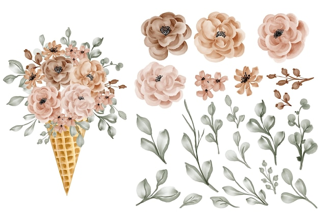 Cone de flor com clipart isolado de rosa e folhas